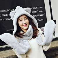 One Piece Warm Thicken Scarf Wrap Hat Gloves Set
