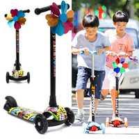 BIKIGHT Kids Folding Flashing 3 Wheels Tricycle Kick Push Children Scooter Kickboard Adjustable Height Handle
