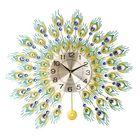 Meilleurs prix DIY 3D Metal Peacock Wall Clock Crystal Diamond Clocks Watch Ornaments Home Living Room Hotel Decor Crafts Gift Large 70x70cm