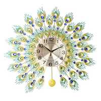 DIY 3D Metal Peacock Wall Clock Crystal Diamond Clocks Watch Ornaments Home Living Room Hotel Decor Crafts Gift Large 70x70cm