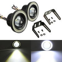 2Pcs 3.5 Inch LED Fog Light Projector Angel Eyes Super Lamp w/ COB Halo Rings