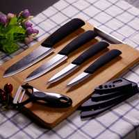 KCASA KC-KF5 5 Pieces Black Blade Zirconia Ceramic Knife Set Multi-function Chef Slicer Peeler