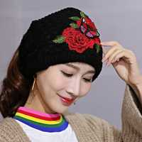 Women's Ethnic Red Peony Embroidery Ponytail Hair Band Cap