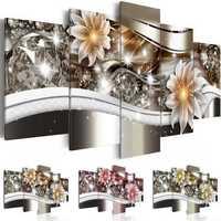 5PCS Diamond Flower Art Print Frameless Canvas Painting Wall Picture Home Decoration