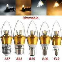 E27/E14/E12/B22/B15 LED Dimmable Bulb 3W SMD 2835 Chandelier Candle Light Lamp AC 220V