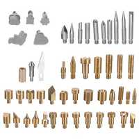 57Pcs Wood Burning Solder Iron Set Pyrography Brass Tips + 2X Stencils Kit Tool