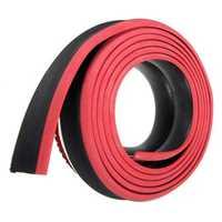 98x2inch Black Red Car Front Bumper Protector Rubber Auto Lip Body Spoiler Decoration