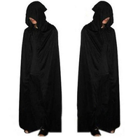 Adult Halloween Party Cosplay Clothing Long Black Hooded Cloak Death Big Cloak Cosplay Devil Cloak