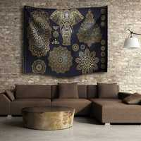 Indian Mandala Elephant Beach Towel Tapestry Wall Hanging Throw Dorm Bedspread Mat Decor