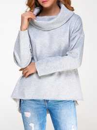 Casual Women Pure Color High Collar Long Sleeve Hood