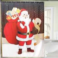 150x180cm Santa Claus Waterproof Shower Curtain Bathroom Christmas Decor with 12 Hooks