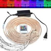 10/15M SMD5050 LED RGB Flexible Rope Outdoor Waterproof Strip Light + Plug + Remote Control AC110V