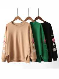 Casual Women Loose Round Neck Embroidery Thicken T Shirt
