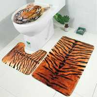3PCS Toilet Rug Contour Carpet Non Slip Floor Mat Lid Toilet Cover Sets For Bathroom Kitchen