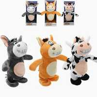 20cm Talking Donkey Sound Record Stuffed Animal Plush Cow Walking Electronic Moving Doll