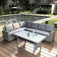 Folding table Garden Furniture Patio Outdoor Furniture Sectional PE Rattan Wicker Patio Set with Faux Wood Grain Top Table Cushions Outdoor Sofa Table Set