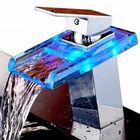 Acheter Bathroom LED Waterfall Faucet Sink Hot Cold Mixer Tap Temperature Control Light Tap