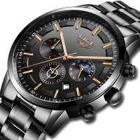 LIGE 9877 Business Style Waterproof Men Wrist Watch