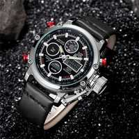 OULM 3811 Waterproof LED Casual Style Dual Display Watch