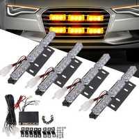 LED Car Grille Strobe Light Mini Police Emergency Warning Signal Flash Lamp 18W 12V Amber 4PCS