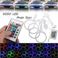 4PCS RGB 100MM Multi-Color 5050 Flash LED SMD 12V Angel Eyes + Remote Control