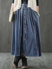Women Pleated Pleuche Embroidery Elastic Waist Skirts