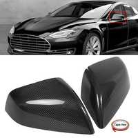 Pair Real Carbon Fiber Add-On Car Side Mirror Cover Caps for Tesla Model S 2012-2017