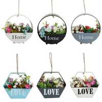 Retro Flower Pot Wall Hanging Balcony Garden Plant Metal Iron Planter Home Decor