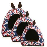 Warm Pet Dog House Cat Puppy UK Ear Flag Sleeping Cushion Bed House Hut Basket Kennel Pad
