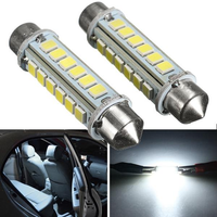 2pcs 44mm 2.6W 2835 24SMD White Festoon LED Interior Dome Light License Plate Bulb
