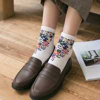 Women Vintage Floral Cotton Breathable Sweat Tube Socks