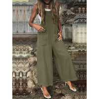 Women Wide Leg Spaghetti Strap Pockets Jumpsuit