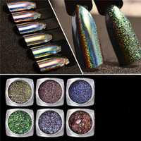 Magic Laser Glitter Powder Metal Holographic Dust Shinning Mirror Nail Art Green Purple DIY Pigment