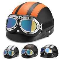Retro Motorcycle Half Open Face Leather Helmet Scooter With UV Goggles