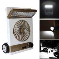 2 In 1 Solar Power USB Rechargeable Outdoor Camping Cool Fan Light Tent LED Lantern Cooler