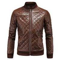 Mens Biker PU Diamond-shaped Lattice Leather Breathable Thick Coat Baseball Collar Jacket