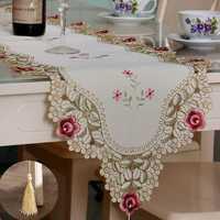 Table Runner Flower Desk Cover With Tassel Wedding Birthday Party Decor