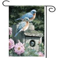 28''x40'' Bluebirds Spring Season Welcome House Garden Flag Yard Banner Decorations