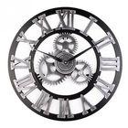 Meilleurs prix Loskii 45cm Round Gear Wall Clock Roman Numerals Open Face Modern Creative Wall Clock