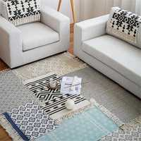 Retro Carpet Rug Cotton Tassels Yarn Dyed Table Ruuner Bedspread Tapestry Home Decoration For Sofa Living Room Bedroom