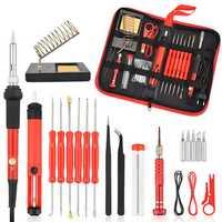 26Pcs 60W Multifunctional Electric Solder Iron Kit Screwdriver Desoldering Pump Tip Wire Pliers + Tool Bag EU Plug/US Plug