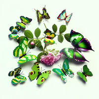 12PCS/Set PVC Green 3D Butterfly Wall Sticker Home Decor Living Room DIY Design Wall Decals
