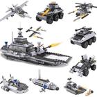 Meilleurs prix Cogo 743+pcs 8 In 1 Aircraft Carrier Blocks Military Airplane Ship Kids Building Blocks Toys