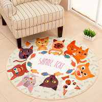 Polyester Round Soft Fashion Floor Mat Cats & Dogs Rug Room Kitchen Pet Mat