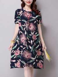 S-5XL Vintage Women Floral Short Sleeve Dress