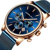 CRRJU 2266 Men Full Steel Chronograph Calendar Quartz Watch