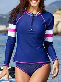 Zipper Front Closure Long-Sleeved Split Swimwear