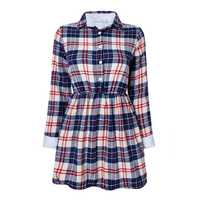 Women Thickening Plaid Elastic Waist Long Sleeve Blouse