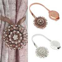 Flower Crystal Magnetic Curtain Clip Tie Backs Buckle Tie Back Clips Home Decoration