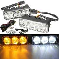 Pair LED Car White DRL & Amber Turn Signal Lamp Daytime Driving Running Light